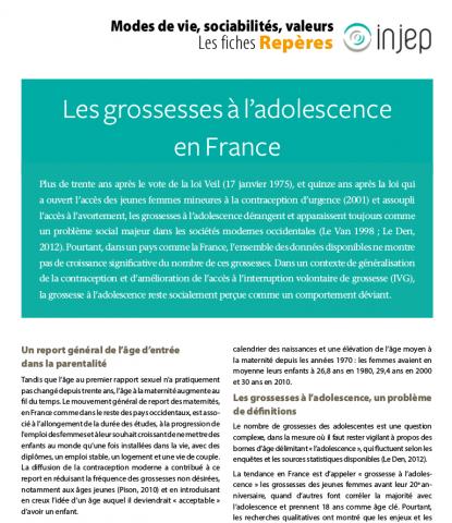 Les grossesses à l'adolescence en France